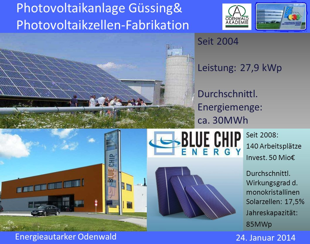 Photovoltaikanlage Güssing& Photovoltaikzellen-Fabrikation