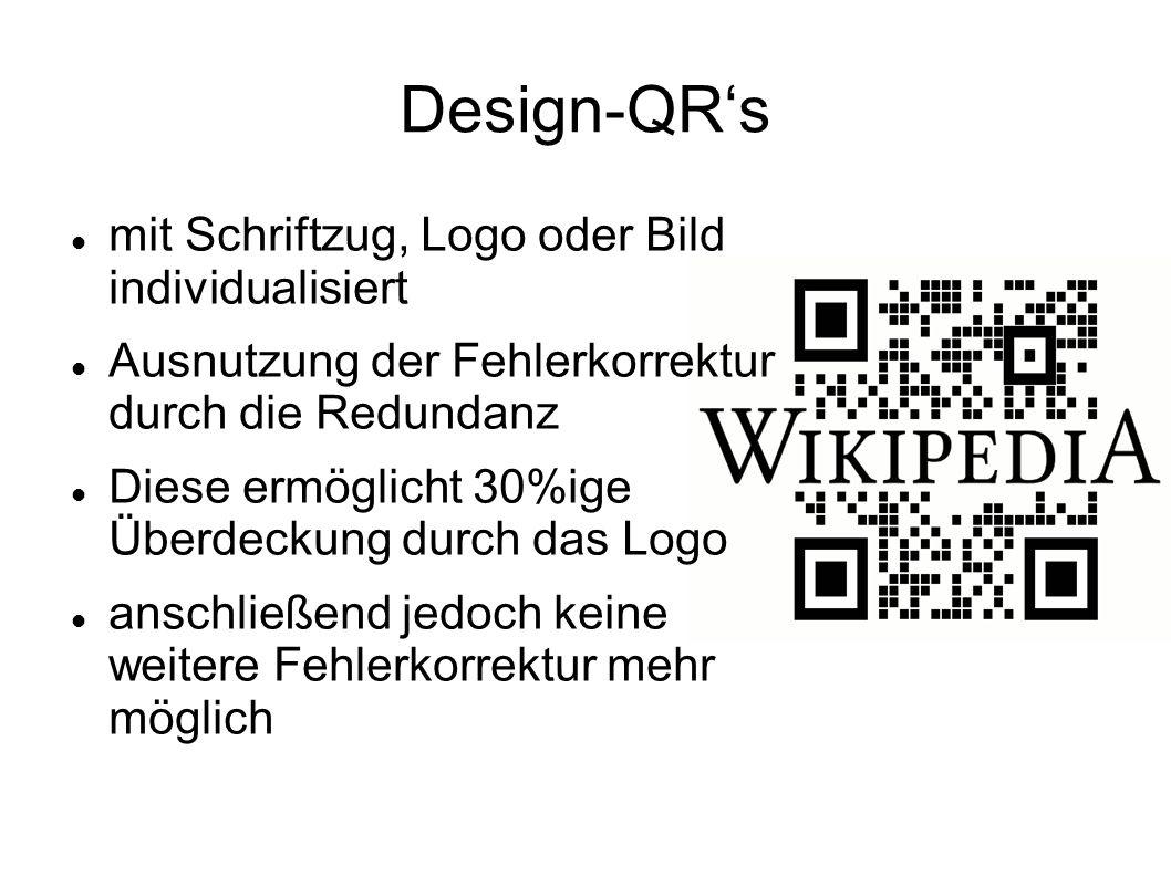 Design-QR's mit Schriftzug, Logo oder Bild individualisiert