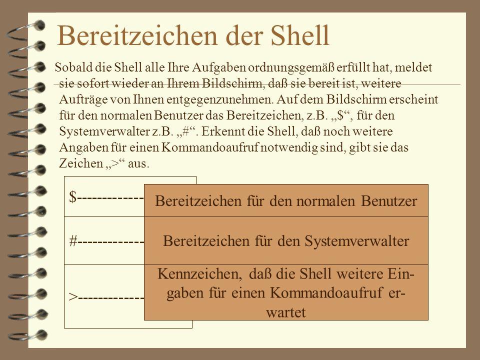 Bereitzeichen der Shell