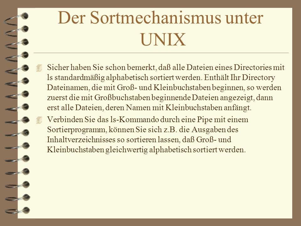 Der Sortmechanismus unter UNIX
