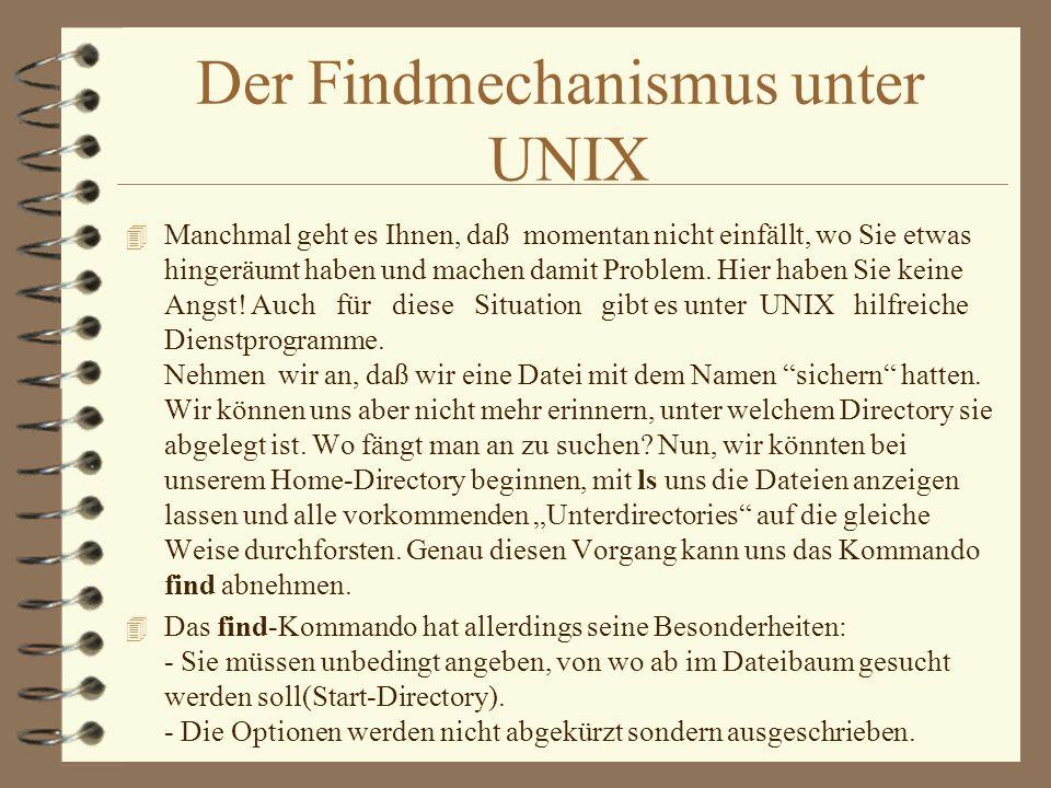 Der Findmechanismus unter UNIX