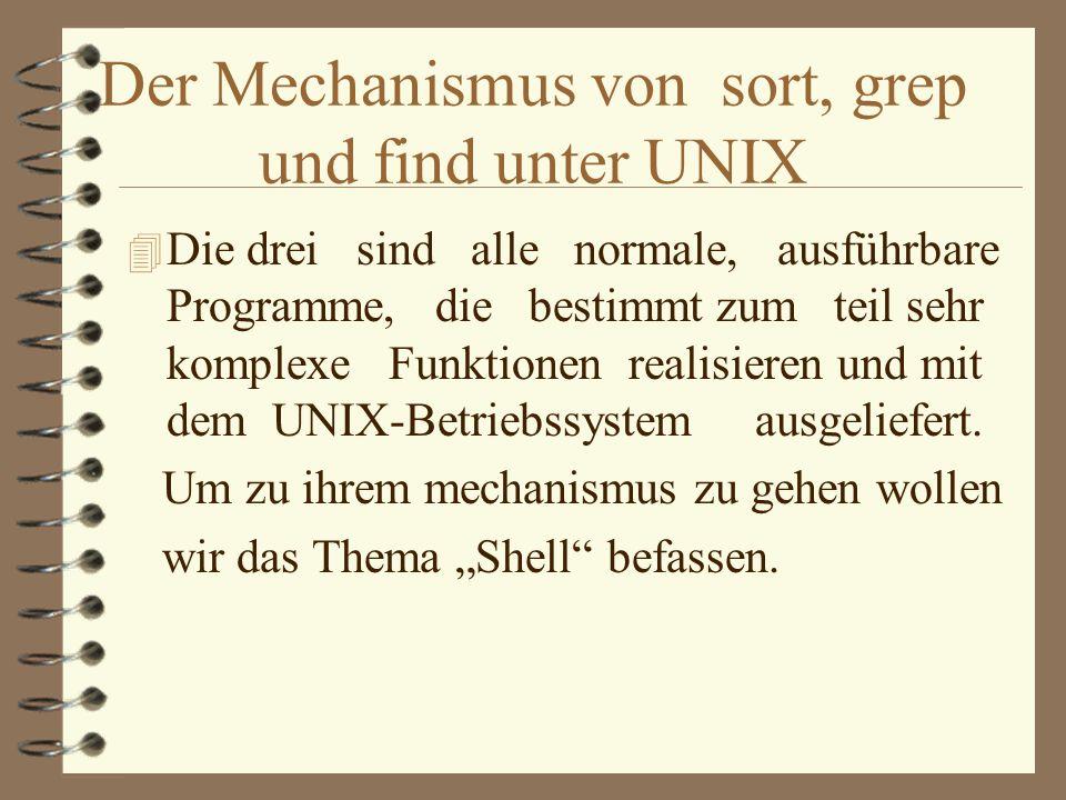 Der Mechanismus von sort, grep und find unter UNIX