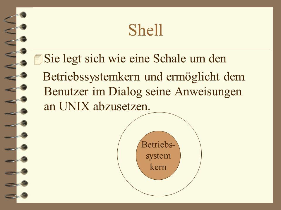 Shell Sie legt sich wie eine Schale um den