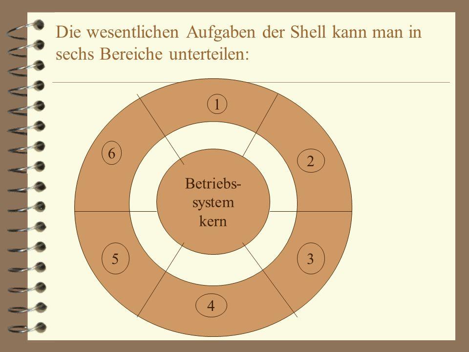 Die wesentlichen Aufgaben der Shell kann man in sechs Bereiche unterteilen: