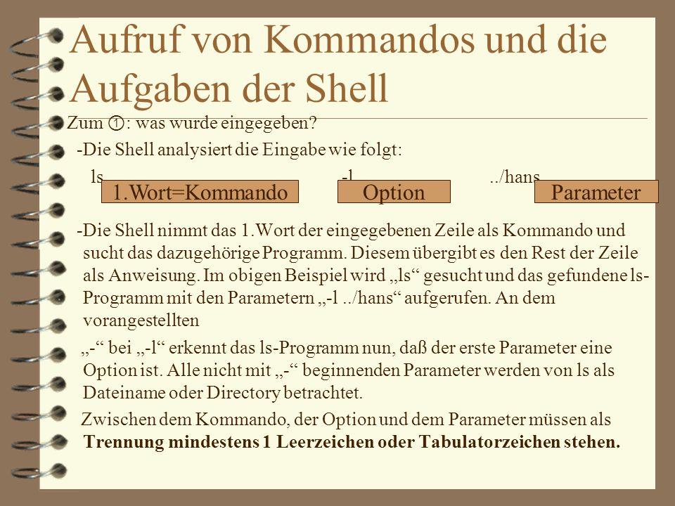 Aufruf von Kommandos und die Aufgaben der Shell
