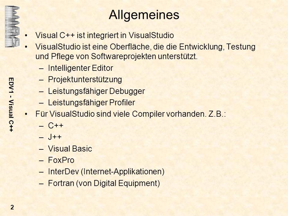 Allgemeines Visual C++ ist integriert in VisualStudio