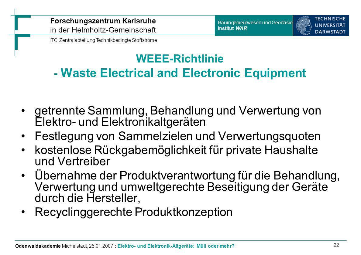 WEEE-Richtlinie - Waste Electrical and Electronic Equipment