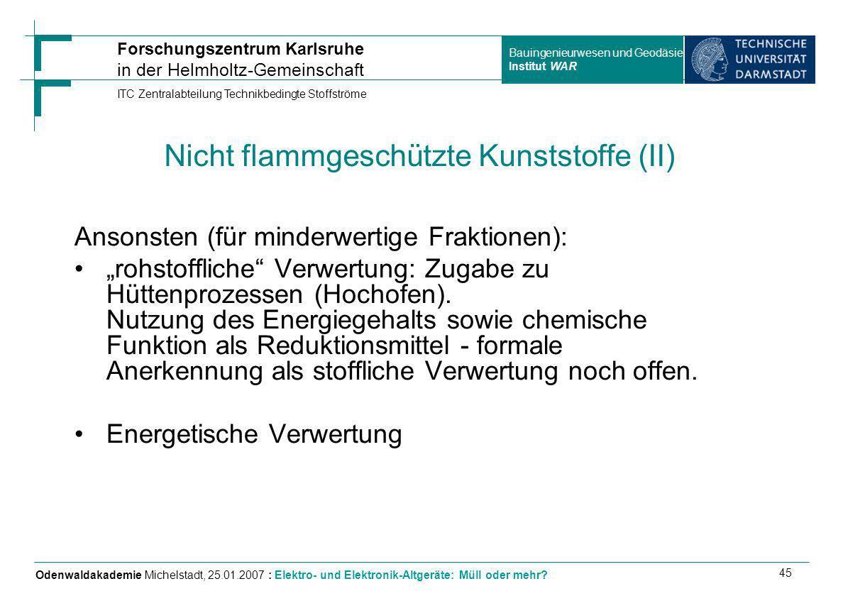 Nicht flammgeschützte Kunststoffe (II)