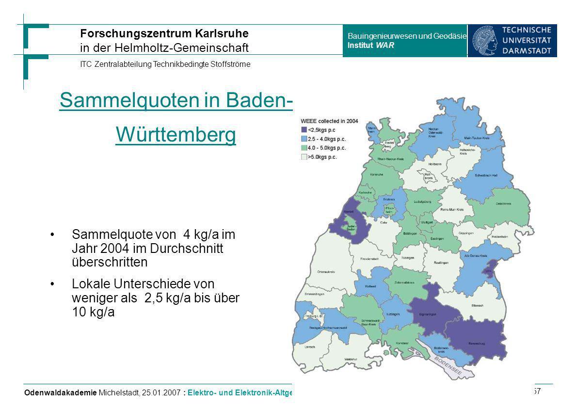 Sammelquoten in Baden-Württemberg