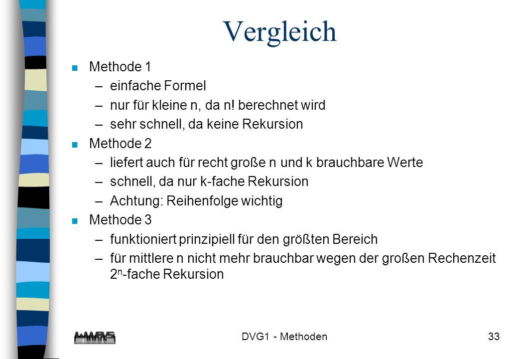 Vergleich Methode 1 einfache Formel