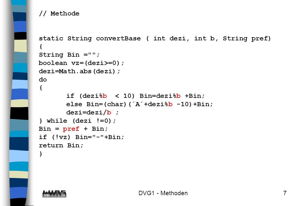 static String convertBase ( int dezi, int b, String pref) {