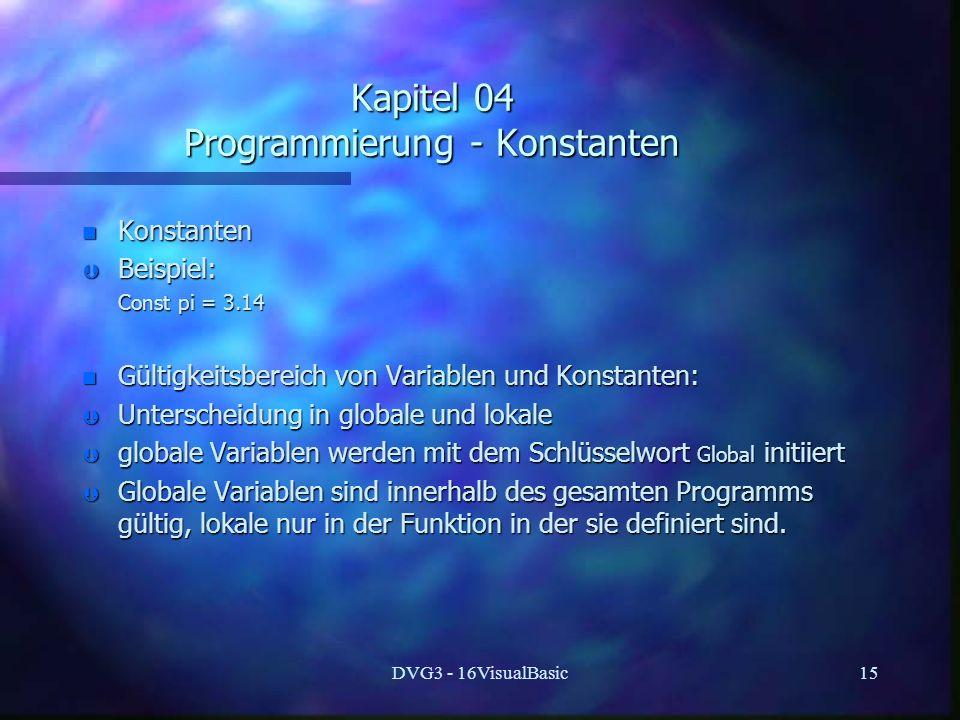 Kapitel 04 Programmierung - Konstanten