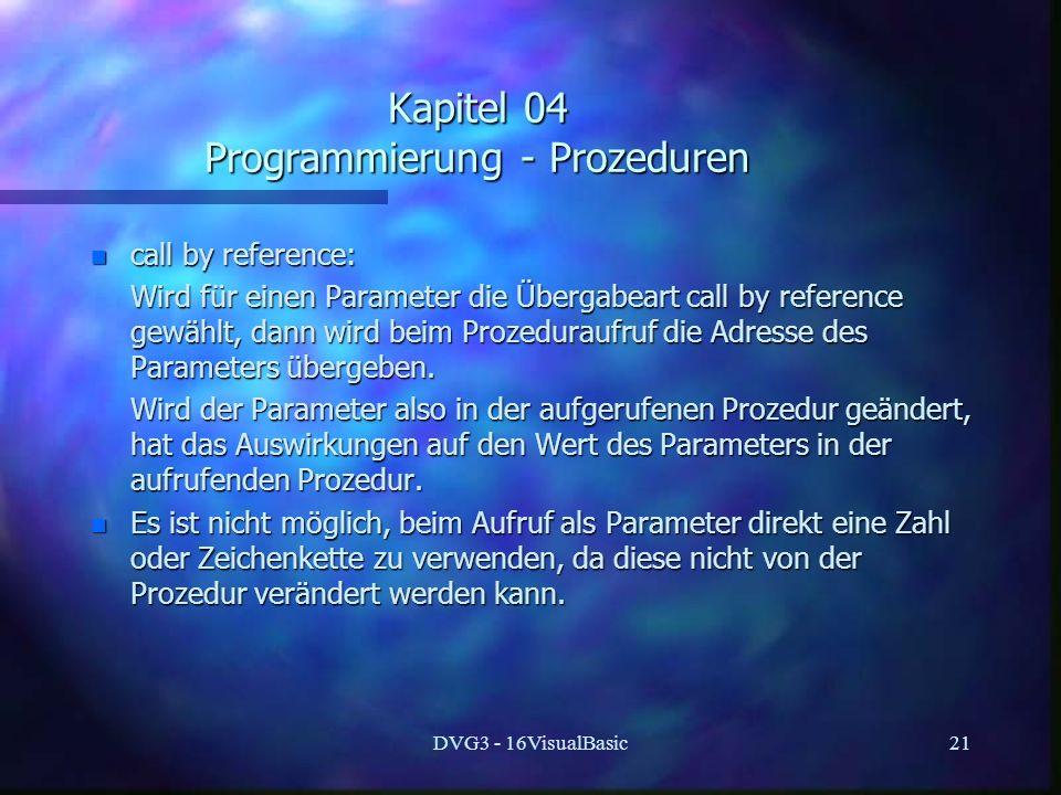 Kapitel 04 Programmierung - Prozeduren