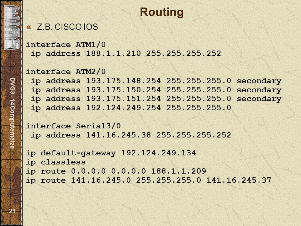 Routing Z.B. CISCO IOS interface ATM1/0