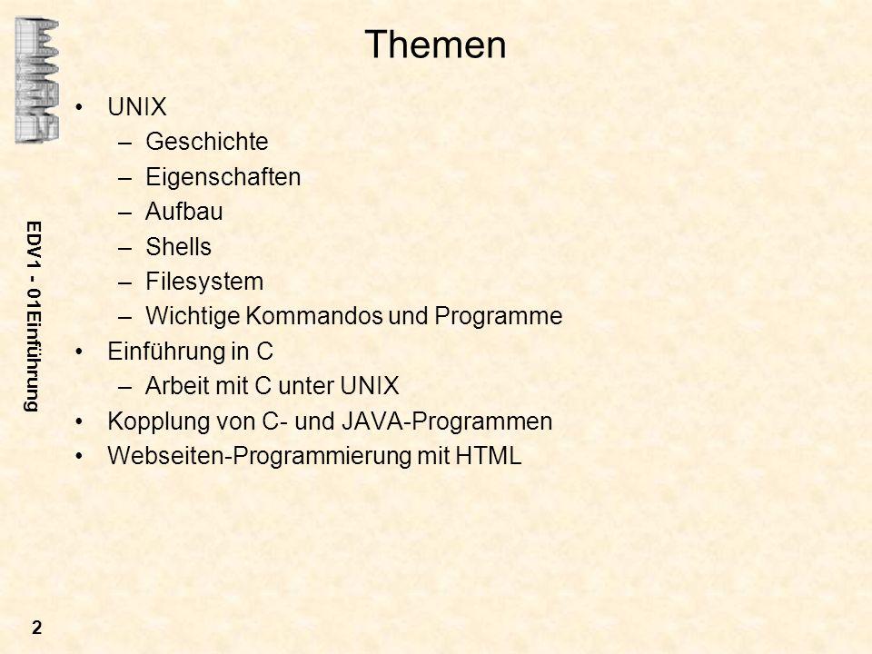 Themen UNIX Geschichte Eigenschaften Aufbau Shells Filesystem