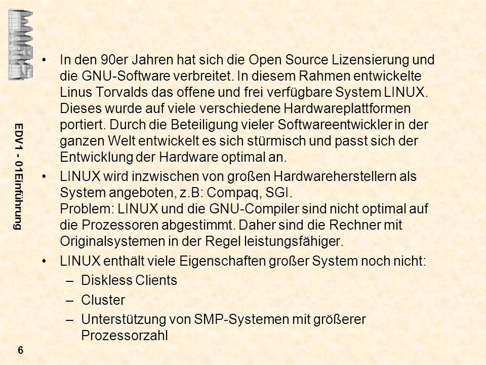 LINUX enthält viele Eigenschaften großer System noch nicht: