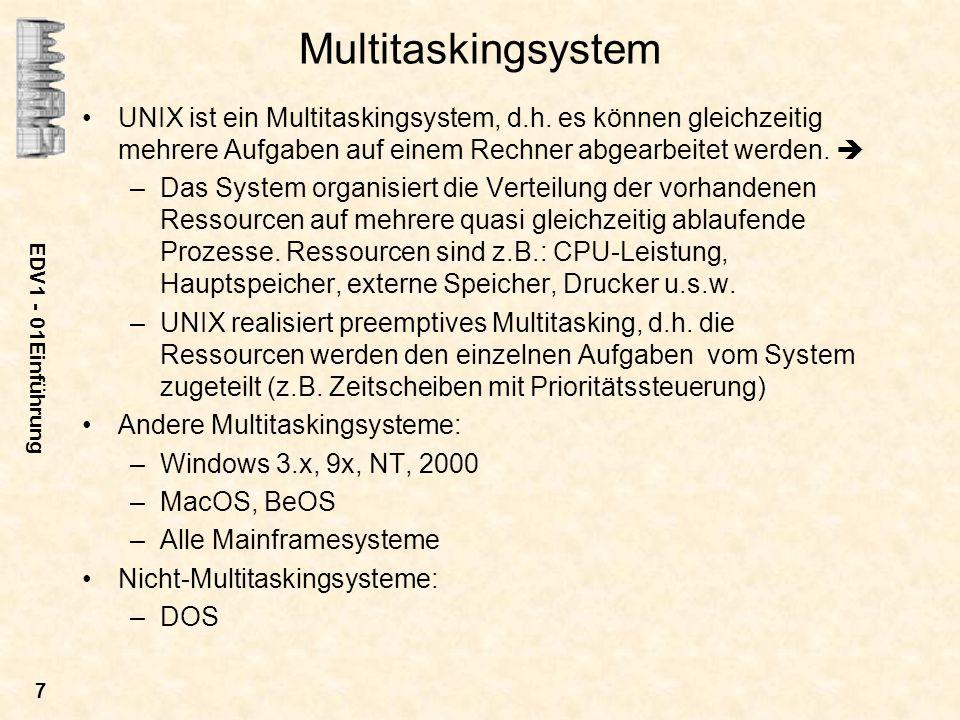 Multitaskingsystem UNIX ist ein Multitaskingsystem, d.h. es können gleichzeitig mehrere Aufgaben auf einem Rechner abgearbeitet werden. 