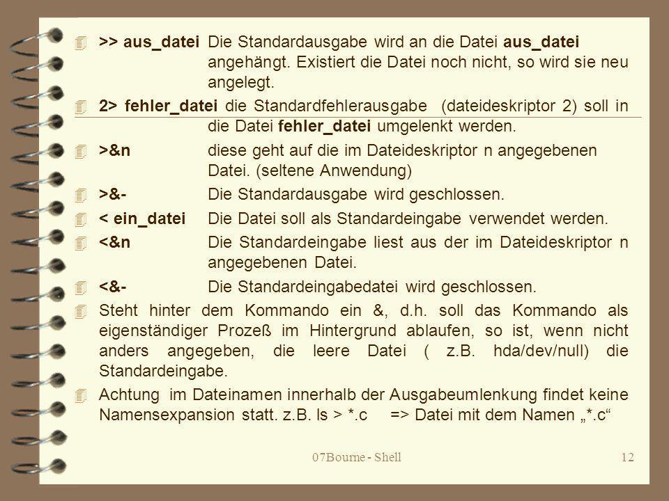 >&- Die Standardausgabe wird geschlossen.