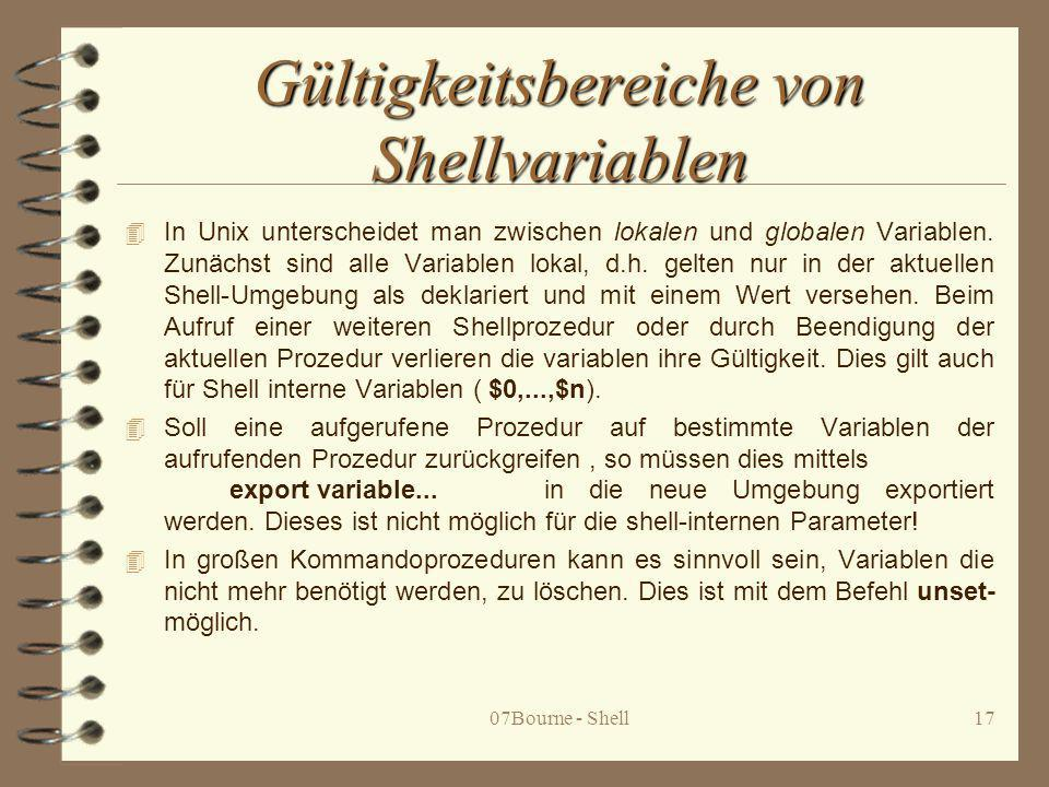 Gültigkeitsbereiche von Shellvariablen