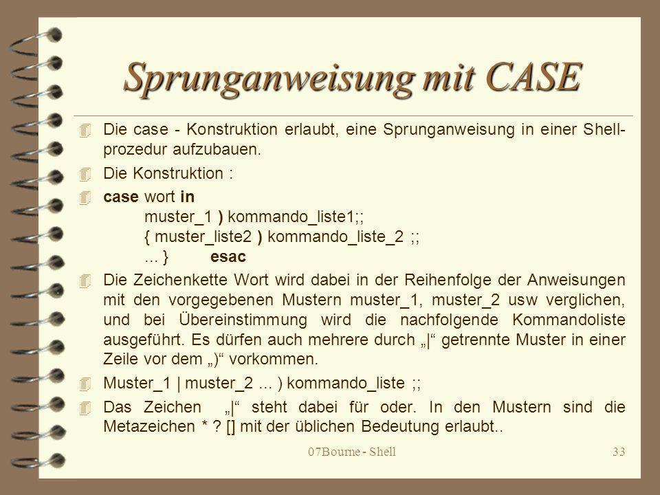 Sprunganweisung mit CASE