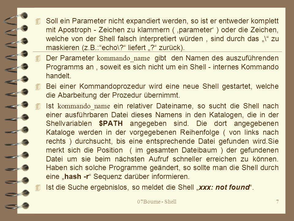 """Ist die Suche ergebnislos, so meldet die Shell """"xxx: not found ."""