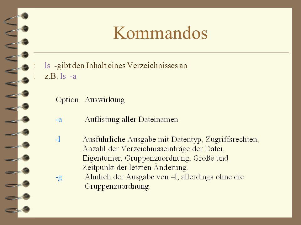 Kommandos ls -gibt den Inhalt eines Verzeichnisses an z.B. ls -a