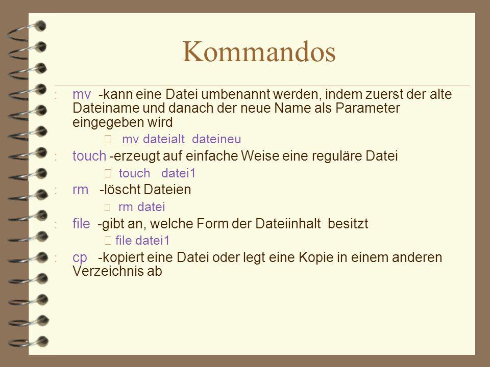 Kommandos mv -kann eine Datei umbenannt werden, indem zuerst der alte Dateiname und danach der neue Name als Parameter eingegeben wird.