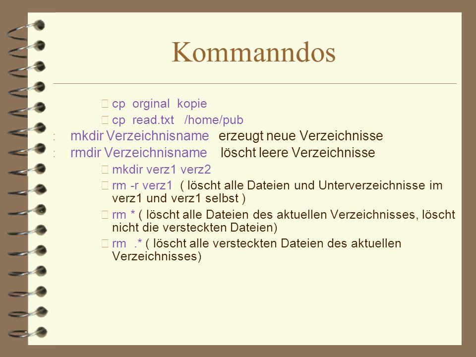 Kommanndos mkdir Verzeichnisname erzeugt neue Verzeichnisse