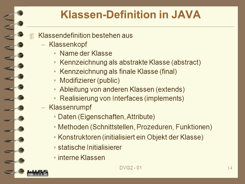Klassen-Definition in JAVA