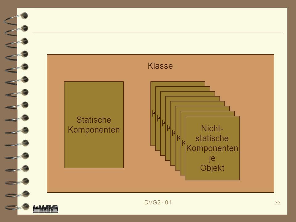 Klasse Statische Komponenten Nicht- statische Komponenten je Objekt