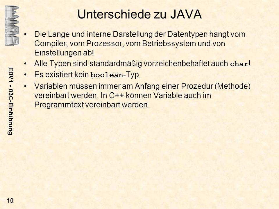 Unterschiede zu JAVA Die Länge und interne Darstellung der Datentypen hängt vom Compiler, vom Prozessor, vom Betriebssystem und von Einstellungen ab!