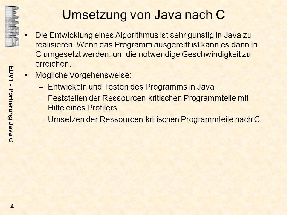 Umsetzung von Java nach C