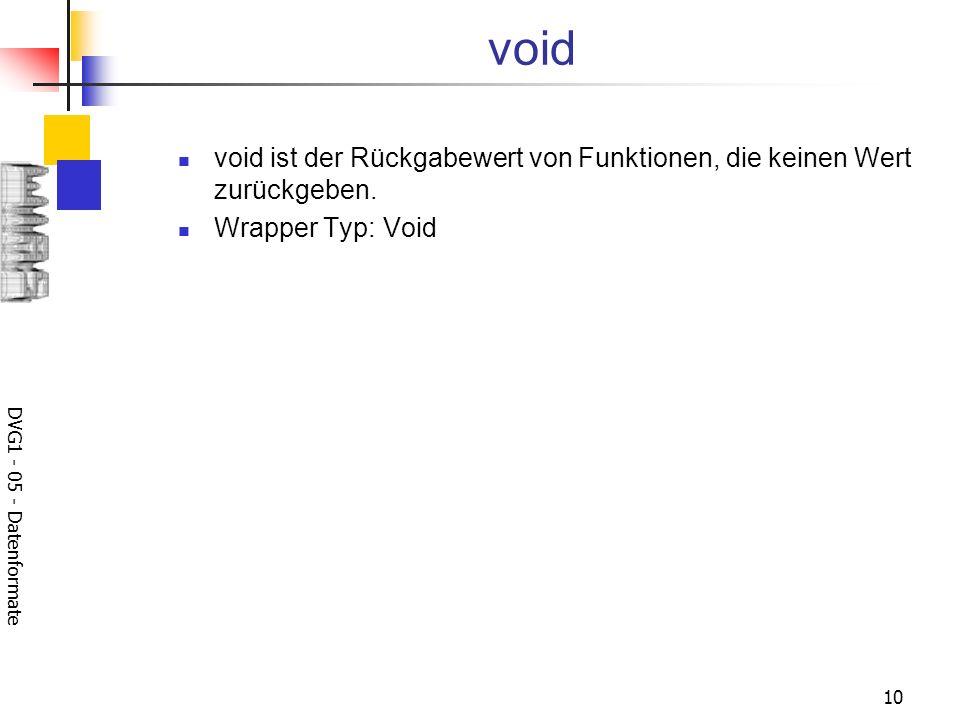 void void ist der Rückgabewert von Funktionen, die keinen Wert zurückgeben.