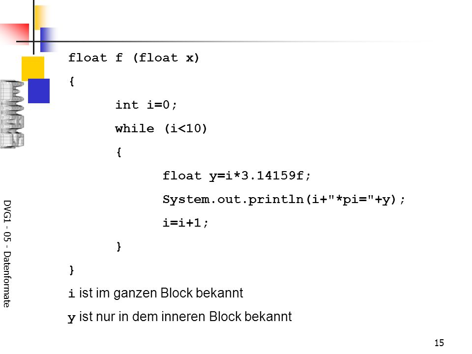 System.out.println(i+ *pi= +y); i=i+1; }