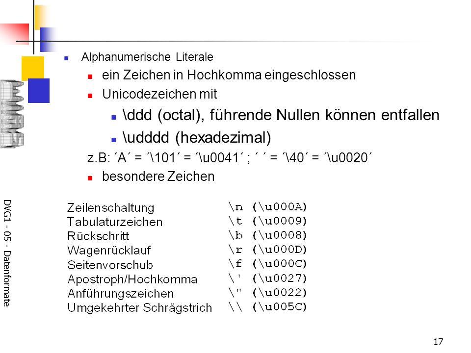 \ddd (octal), führende Nullen können entfallen \udddd (hexadezimal)
