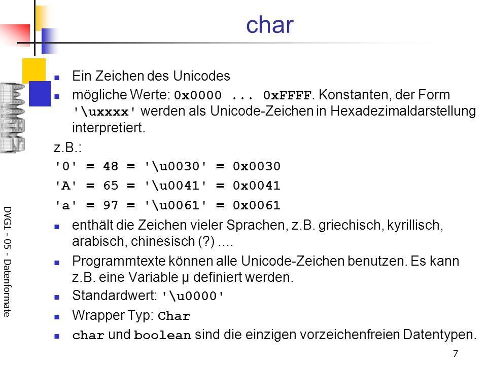 char Ein Zeichen des Unicodes
