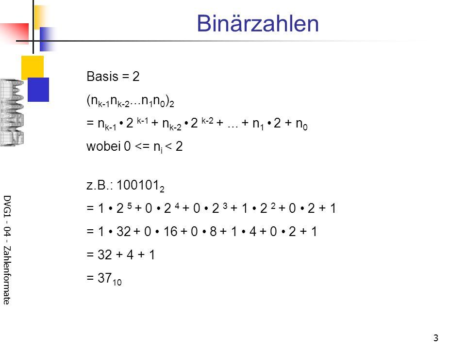 Binärzahlen Basis = 2 (nk-1nk-2...n1n0)2