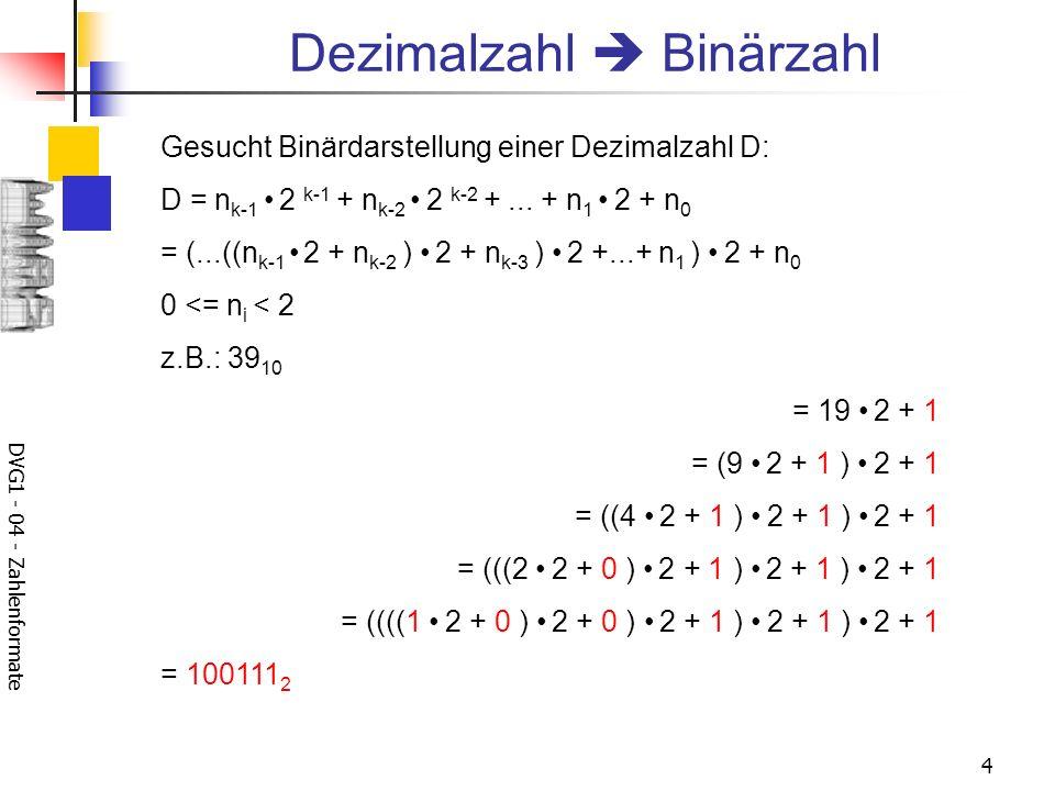 Dezimalzahl  Binärzahl