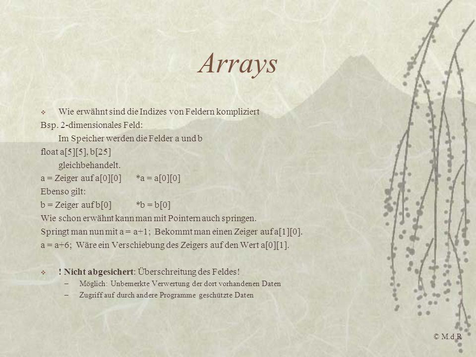 Arrays Wie erwähnt sind die Indizes von Feldern kompliziert