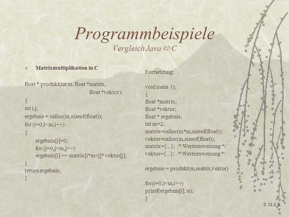 Programmbeispiele Vergleich Java C