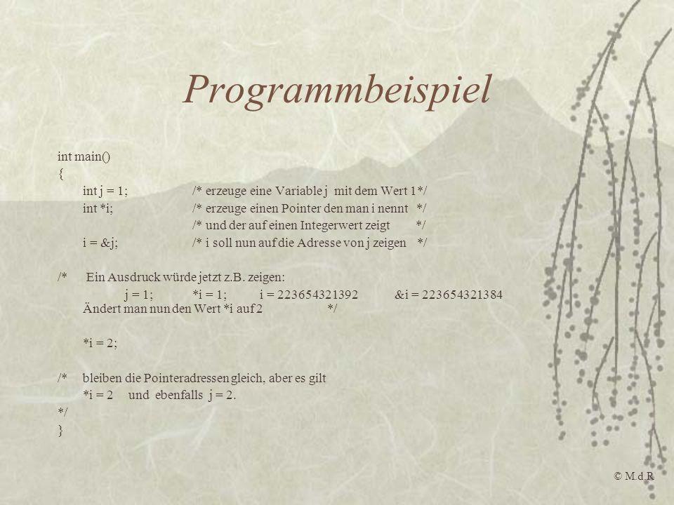 Programmbeispiel int main() {