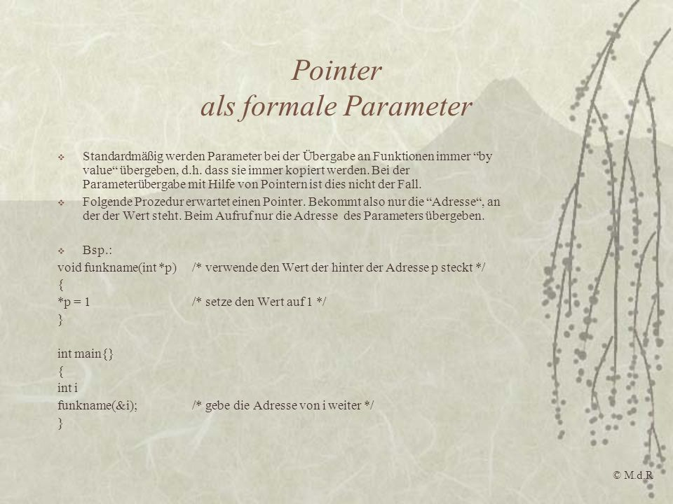Pointer als formale Parameter