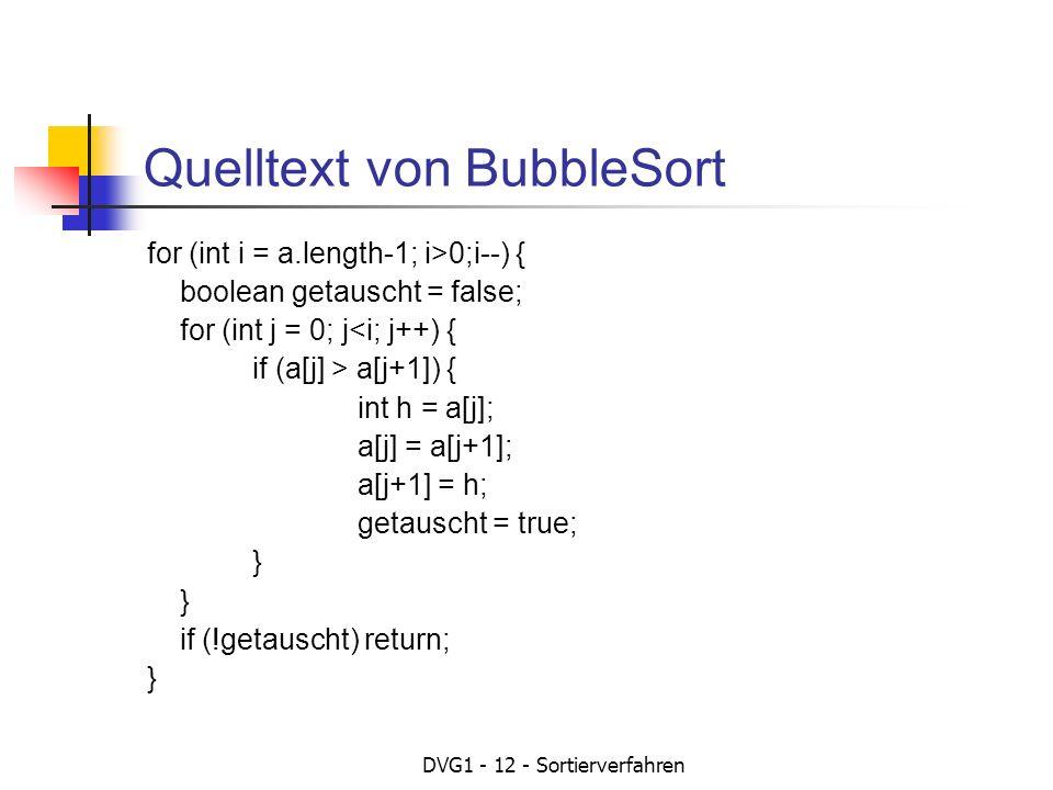 Quelltext von BubbleSort