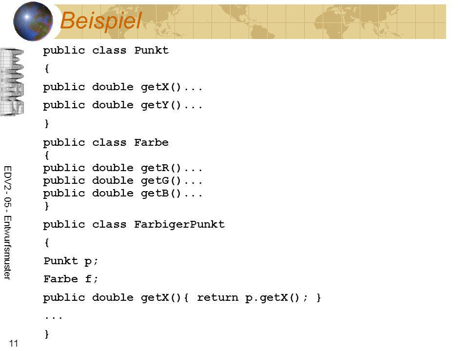 Beispiel public class Punkt { public double getX()...