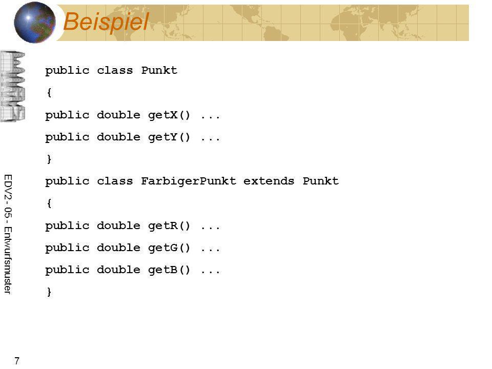 Beispiel public class Punkt { public double getX() ...