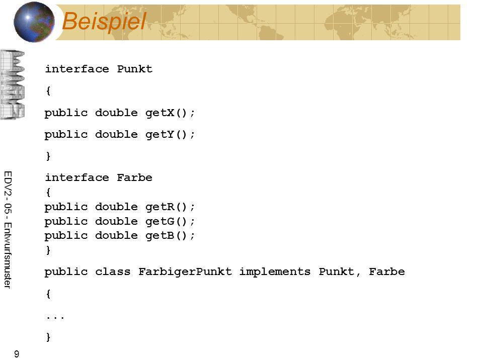 Beispiel interface Punkt { public double getX(); public double getY();