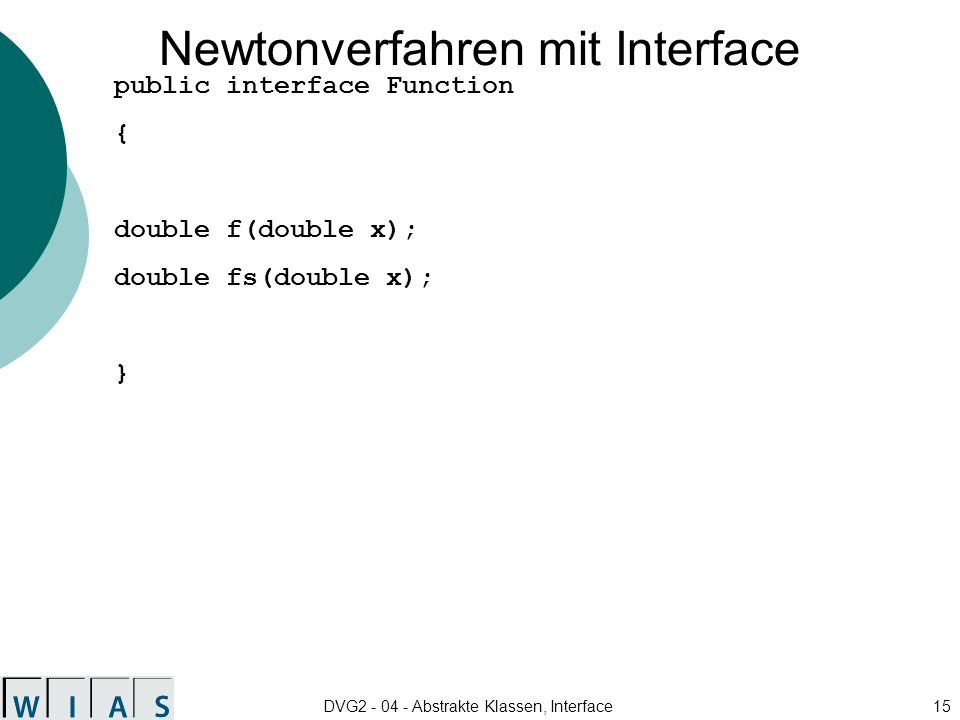 Newtonverfahren mit Interface