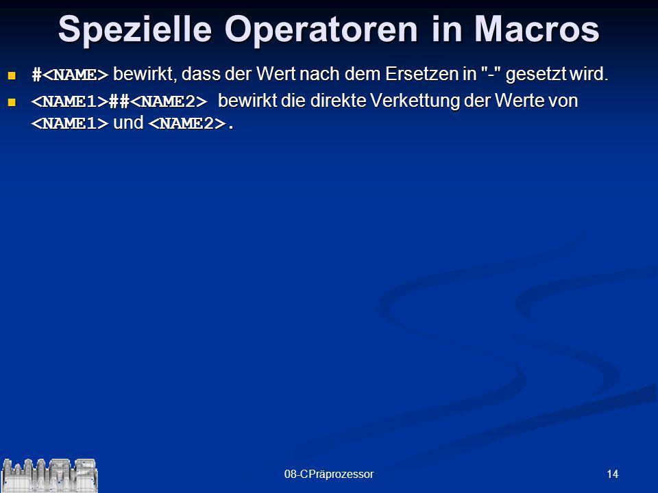 Spezielle Operatoren in Macros