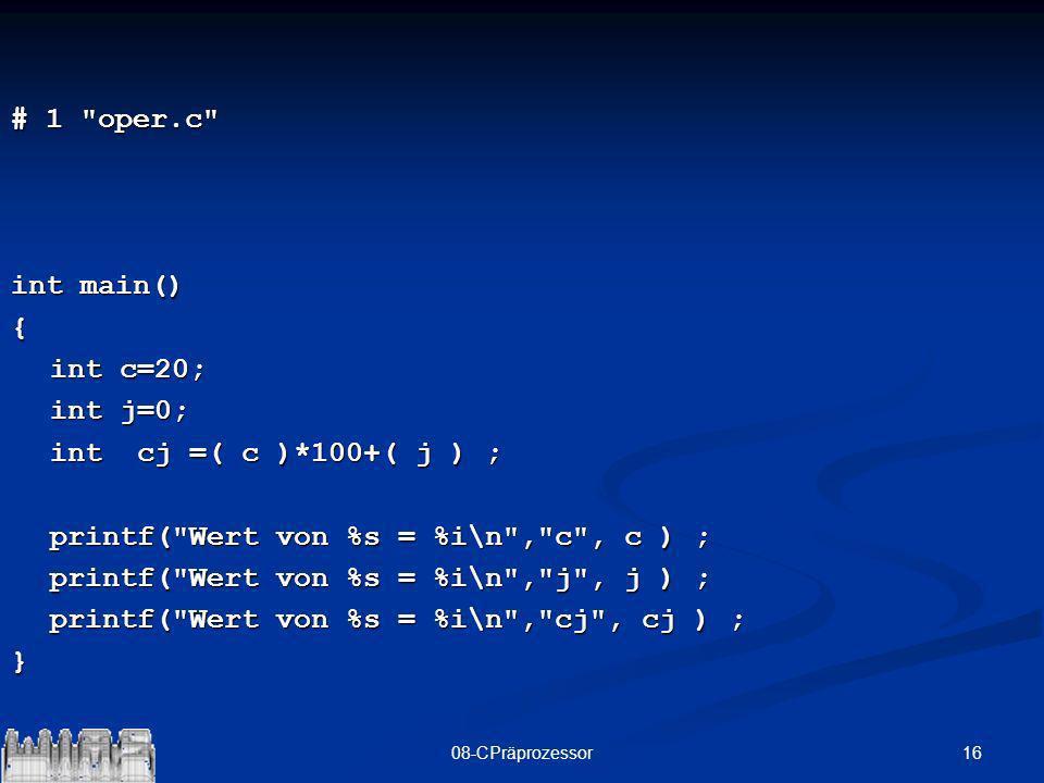printf( Wert von %s = %i\n , c , c ) ;