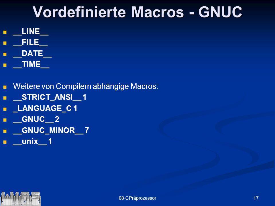 Vordefinierte Macros - GNUC